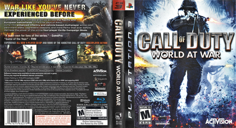 Call of Duty: World at War PS3 coverfullM (BLUS30192)