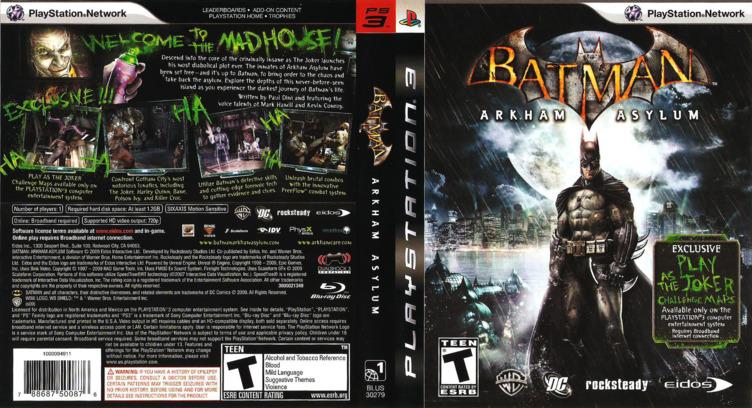 Batman: Arkham Asylum PS3 coverfullM (BLUS30279)