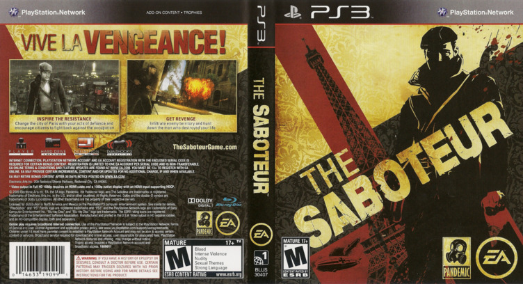 Saboteur PS3 coverfullM (BLUS30407)