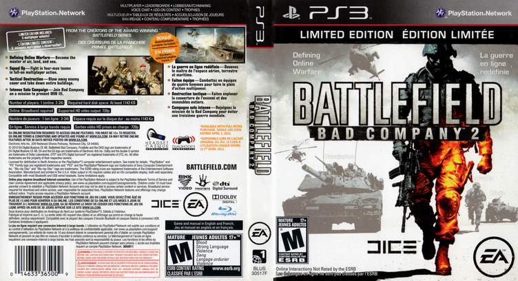 Battlefield: Bad Company 2 PS3 coverfullM (BLUS30458)