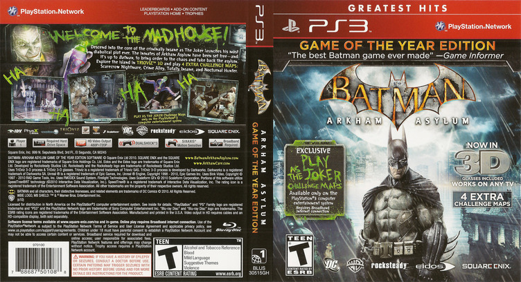 Batman: Arkham Asylum (Game of the Year Edition) PS3 coverfullM (BLUS30515)
