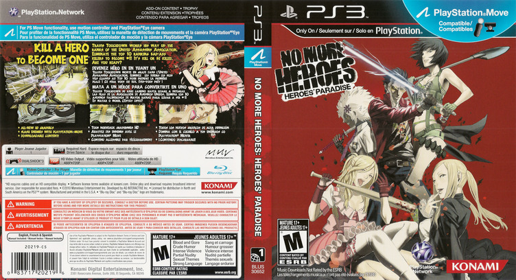 No More Heroes: Heroes' Paradise PS3 coverfullM (BLUS30652)