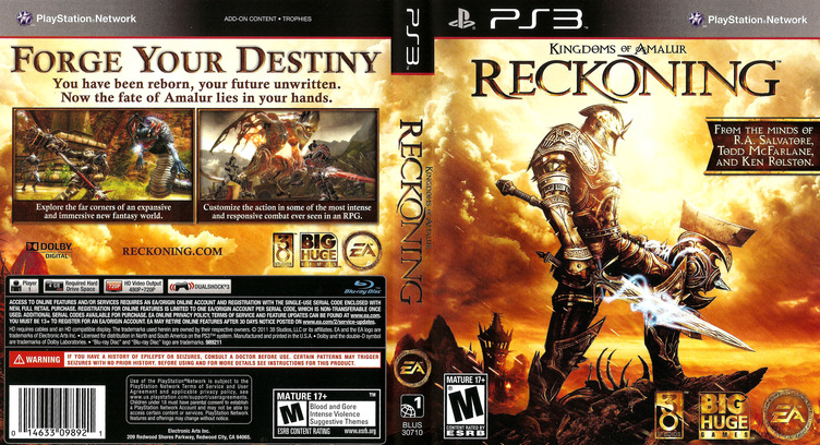 Kingdoms of Amalur: Reckoning PS3 coverfullM (BLUS30710)