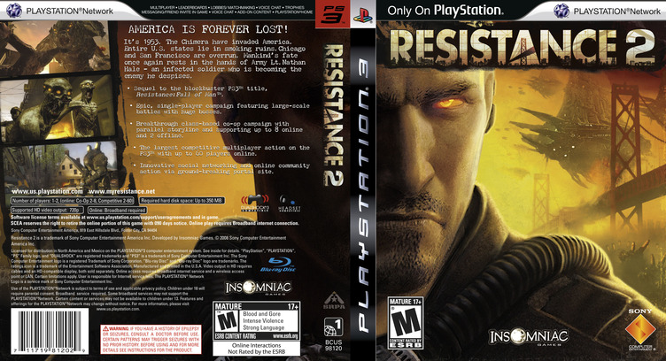 Resistance 2 PS3 coverfullM2 (BCUS98120)