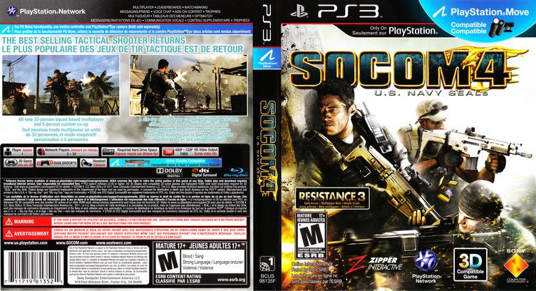 SOCOM 4: U.S. Navy SEALs PS3 coverfullM2 (BCUS98135)