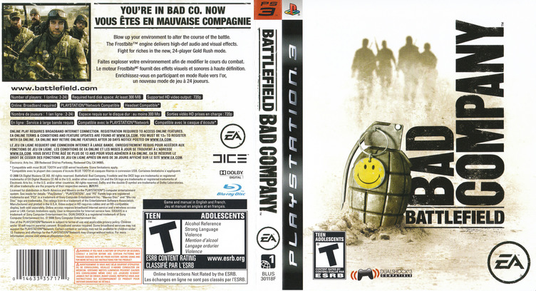 Battlefield: Bad Company PS3 coverfullM2 (BLUS30118)
