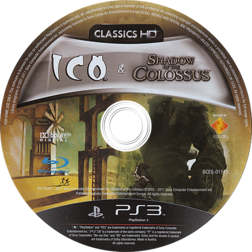 The ICO & Shadow of the Colossus Collection PS3 discM (BCES01115)