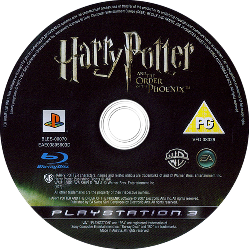 Harry Potter and the Order of the Phoenix PS3 discM (BLES00070)