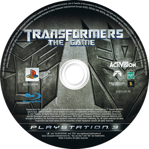 Transformers: The Game PS3 discM (BLES00094)