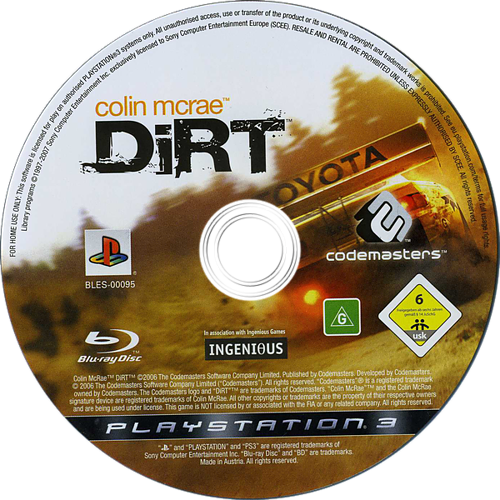 Colin McRae: DiRT PS3 discM (BLES00095)