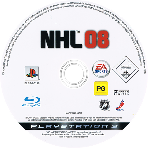 NHL 08 PS3 discM (BLES00118)