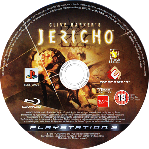 Clive Barker's Jericho PS3 discM (BLES00120)