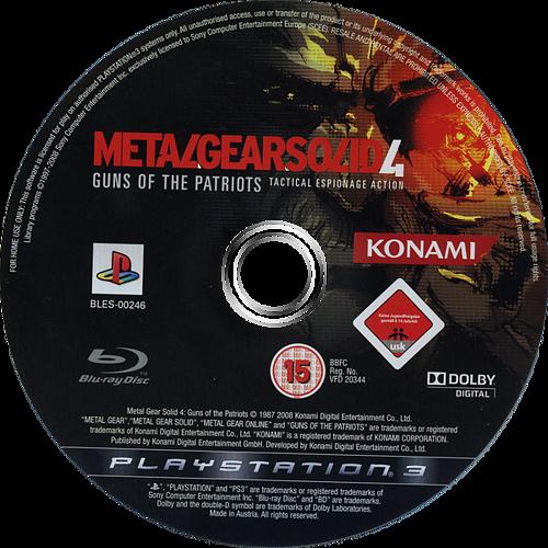 Metal Gear Solid 4: Guns of the Patriots PS3 discM (BLES00246)