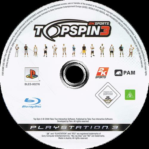 Top Spin 3 PS3 discM (BLES00276)