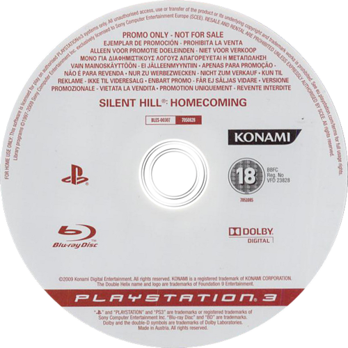 Silent Hill: Homecoming (Promo) Array discM (BLES00307)