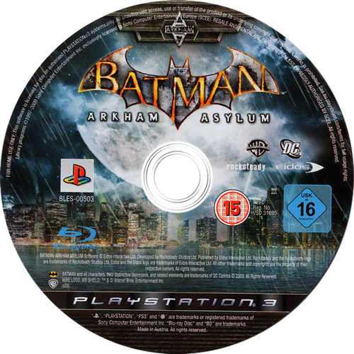 Batman: Arkham Asylum PS3 discM (BLES00503)