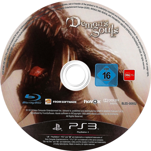 Demon's Souls PS3 discM (BLES00932)