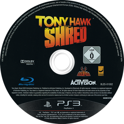 Tony Hawk: Shred PS3 discM (BLES01002)