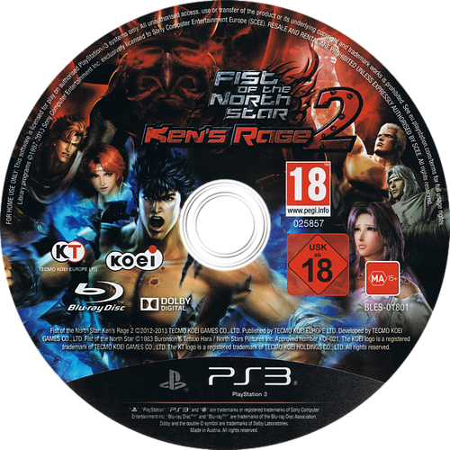 Fist of the North Star: Ken's Rage 2 PS3 discM (BLES01801)