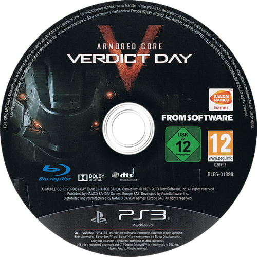 Armored Core: Verdict Day Array discM (BLES01898)