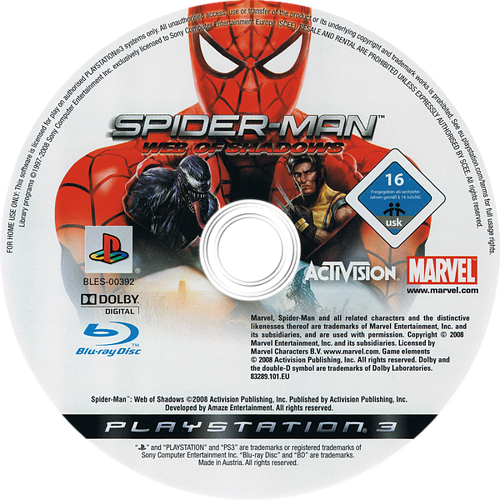 Spider-Man: El Reino de las Sombras PS3 discM (BLES00392)