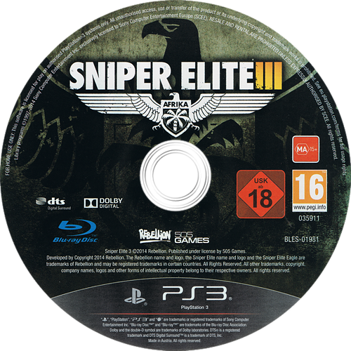 Sniper Elite III PS3 discM (BLES01981)