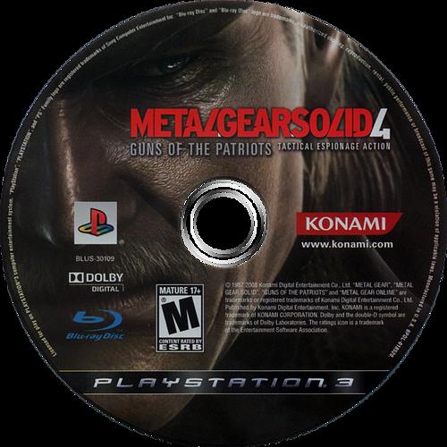 Metal Gear Solid 4: Guns of the Patriots PS3 discM (BLUS30109)