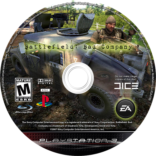 Battlefield: Bad Company PS3 disccustomM (BLUS30118)
