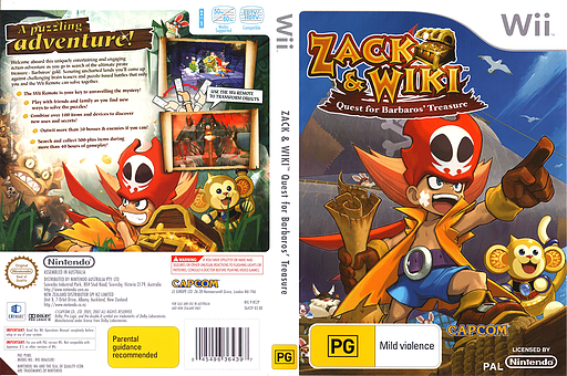 Zack & Wiki: Quest For Barbaros' Treasure Wii cover (RTZP08)