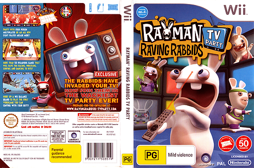 Rayman Raving Rabbids: TV Party Wii cover (RY3P41)