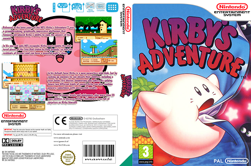 Kirby's Adventure VC-NES cover (FA8P)