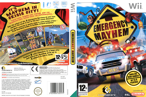 Emergency Mayhem Wii cover (REGP36)