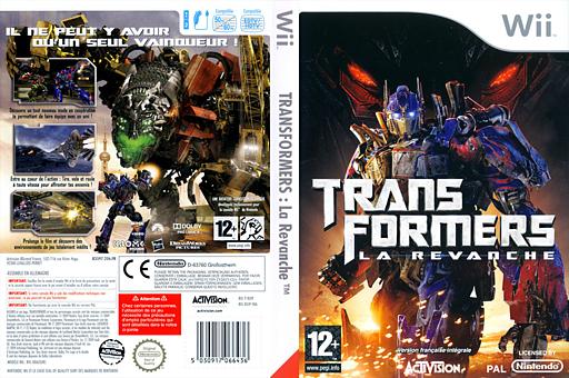 Transformers:La Revanche pochette Wii (RXIP52)