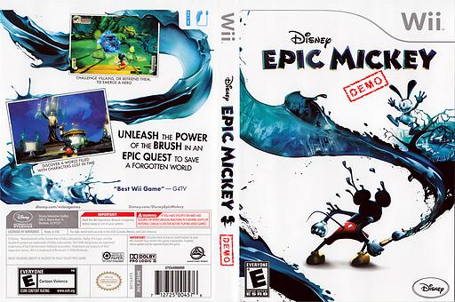 Disney Epic Mickey (Demo) Wii cover (DASE4Q)