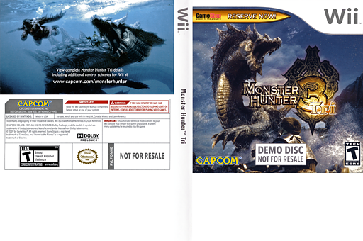 Monster Hunter Tri (Demo) Wii cover (DMHE08)