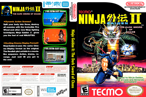 Ninja Gaiden II: The Dark Sword of Chaos VC-NES cover (FCQE)
