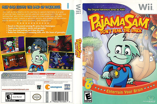 Pajama Sam: Don't Fear the Dark Wii cover (RJQE5G)