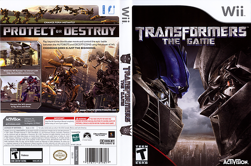 Transformers: The Game Wii cover (RTFE52)