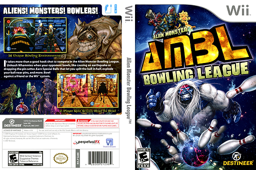 Alien Monster Bowling League Wii cover (SABENR)