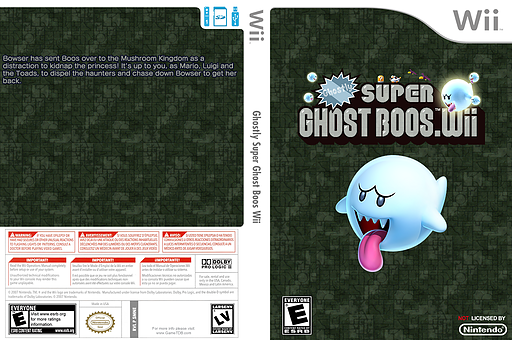 Ghostly Super Ghost Boos Wii CUSTOM cover (SMNE65)