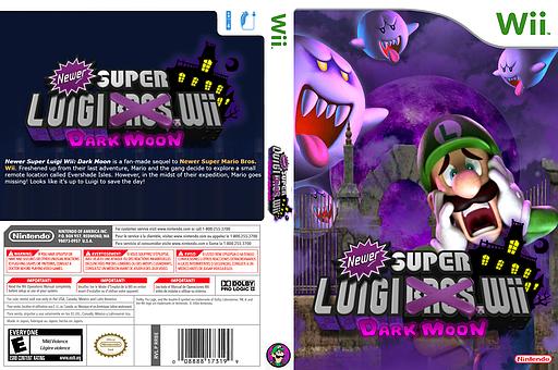 Newer Super Luigi Wii Dark Moon CUSTOM cover (SMNELM)