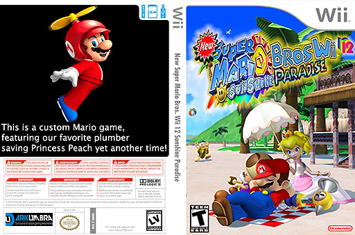 New Super Mario Bros Wii 12 Sunshine Paradise CUSTOM cover (SMSE01)