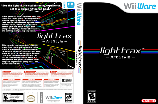 Art Style: Light Trax WiiWare cover (WALE)