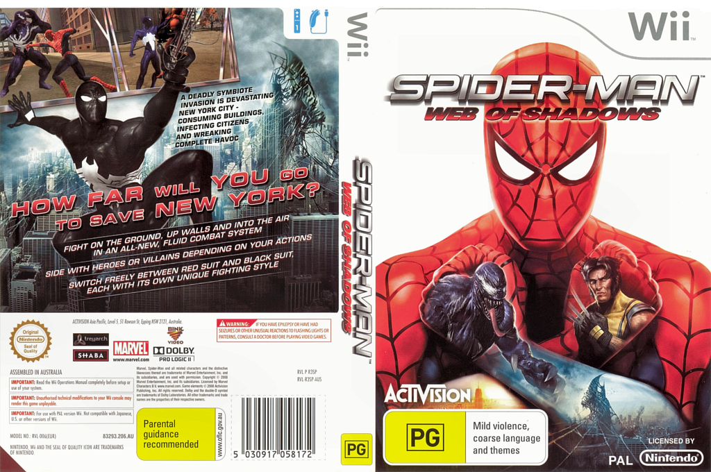 Spider-Man: Web of Shadows Wii coverfullHQ (R3SP52)