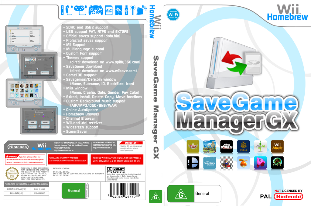 SaveGame Manager GX Wii coverfullHQ (SMGX)
