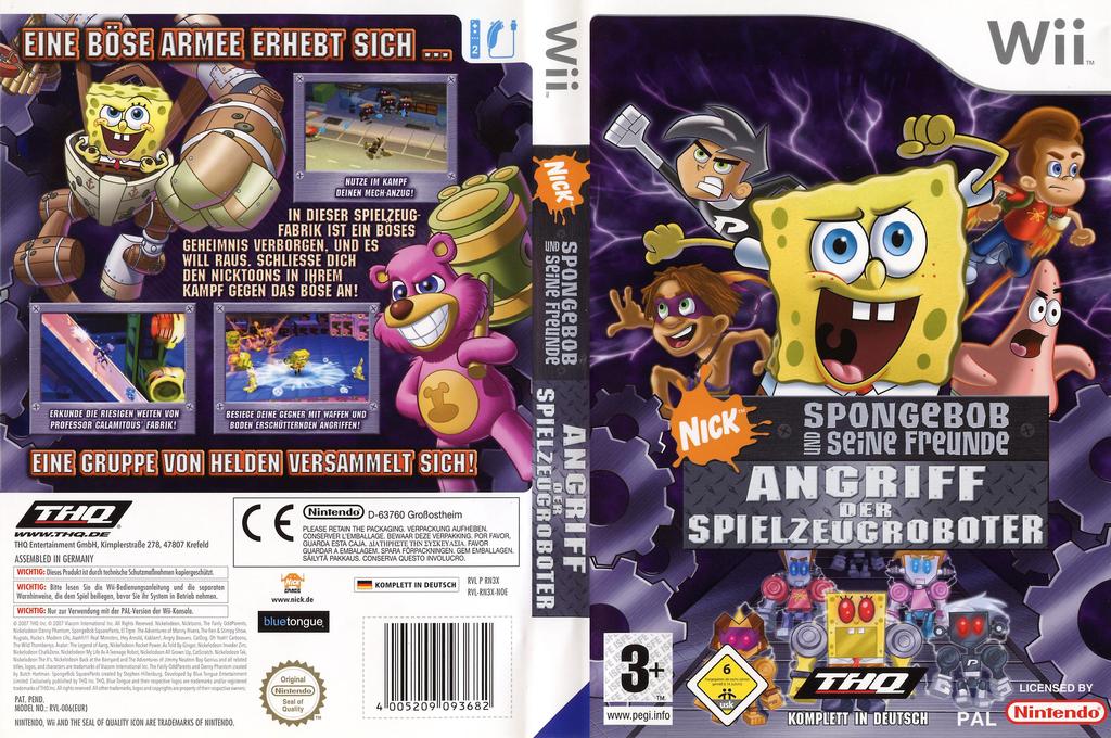 SpongeBob und seine Freunde: Angriff der Spielzeugroboter Wii coverfullHQ (RN3X78)