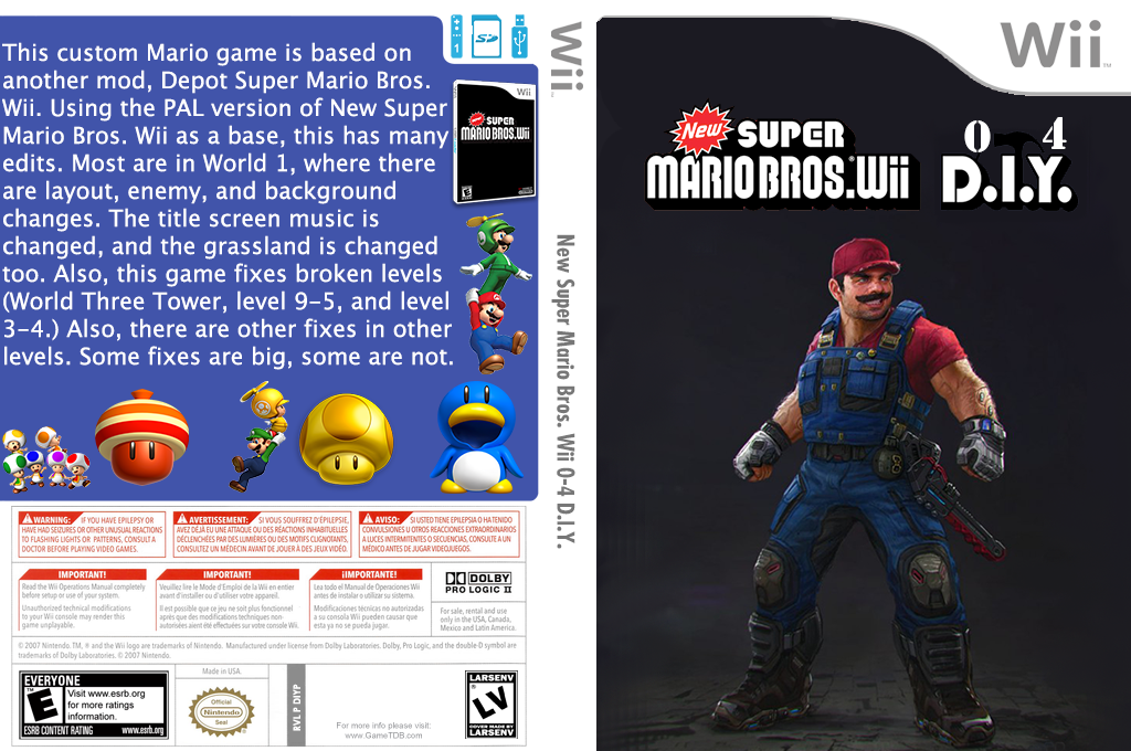 New Super Mario Bros. Wii 0-4 D.I.Y. Wii coverfullHQ (DIYP01)