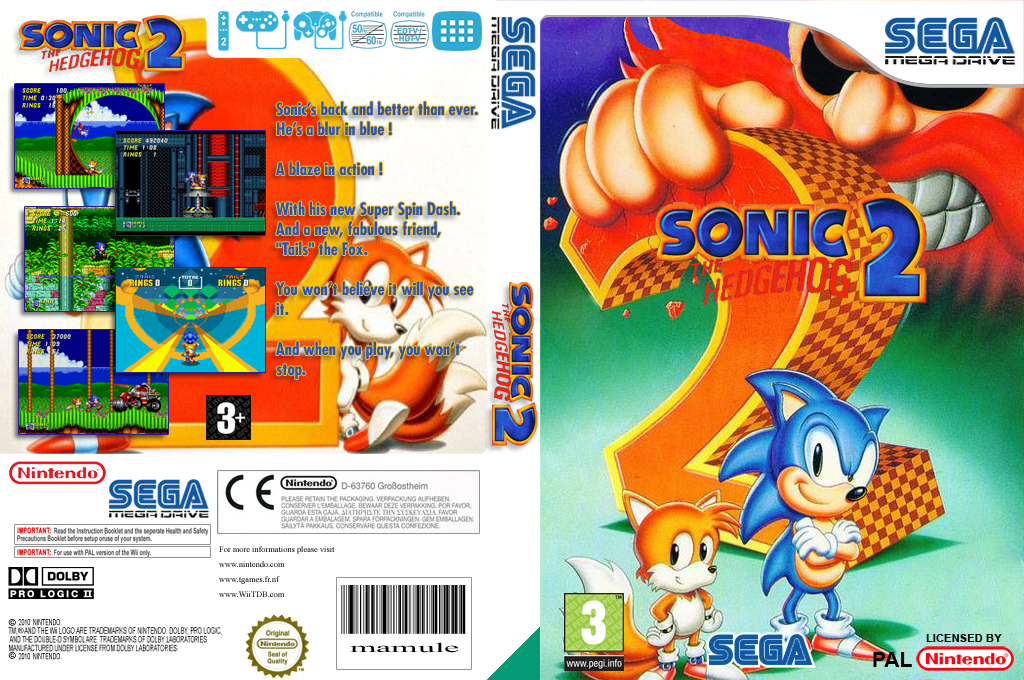 Sonic the Hedgehog 2 Wii coverfullHQ (MBBP)