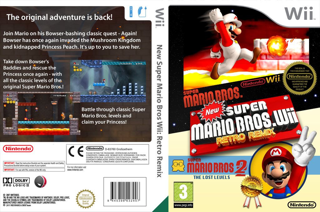 New Super Mario Bros. Wii Retro Remix Wii coverfullHQ (MRRP01)