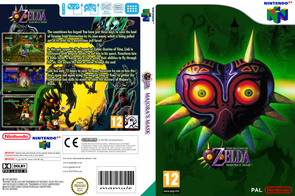 The Legend of Zelda: Majora's Mask Wii coverfullHQ (NARP)